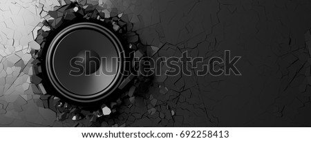Black wall breaks from the sound of a loudspeaker. 3d illustration