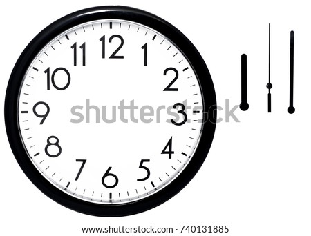 Black wall clock. Isolated on white background. High quality photo.