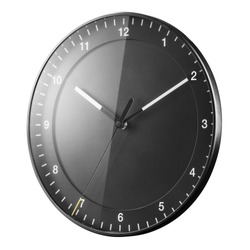 Black Wall Clock Isolated on White. Front Side View of Silent Quartz Clock Movement. Modern Style Timepiece with Numerals on Metal Frame. Home Decor Classic Timekeeping