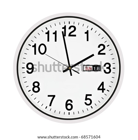 Black wall clock, two minutes to two o'clock - stock photo