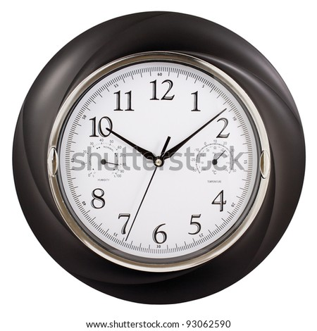 Black wall clock with humidity and temperature