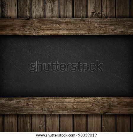 Black wall on wood background or texture