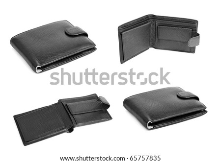 Black wallet set isolated on a white background