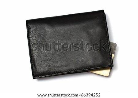 Black wallet with Credit card isolated on white background