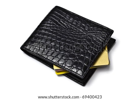 Black wallet with Credit cards isolated on white background