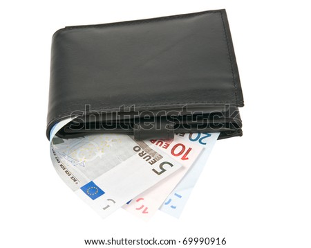 Black wallet with euro banknotes