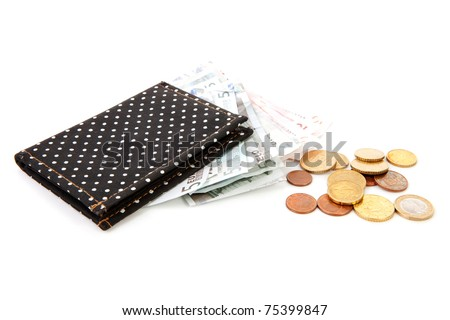 black wallet with euro money over white background