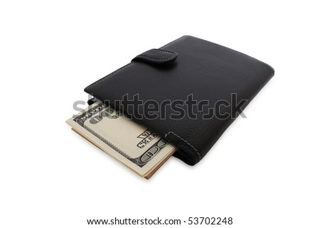 Black wallet with the pack of dollars. Isolated on white