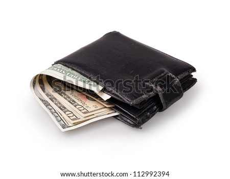 black wallet with US Paper Currency on the white background