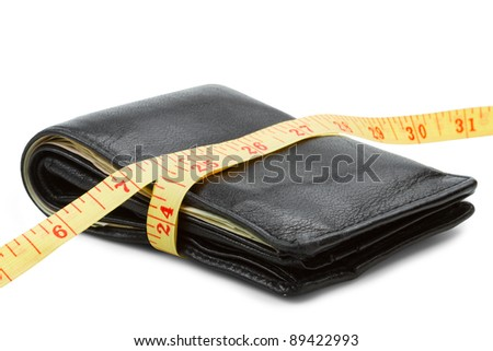 black wallet with yellow tape measure