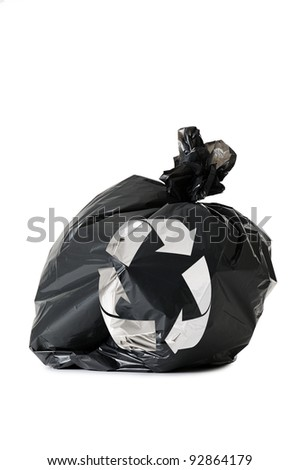 black waste bag with recycling symbol