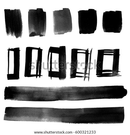 Black watercolor paint stains and brush strokes. Hand drawn background set. Web elements for icons, banners, interface, and labels.