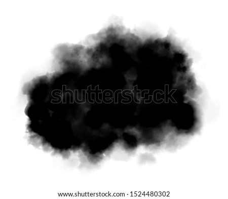 Black watercolor stain hand drawn illustration. Charcoal, aquarelle blotch isolated on white background. Dark color cloud, smoke painting. Abstract smudge, monochrome blob, inkblot texture