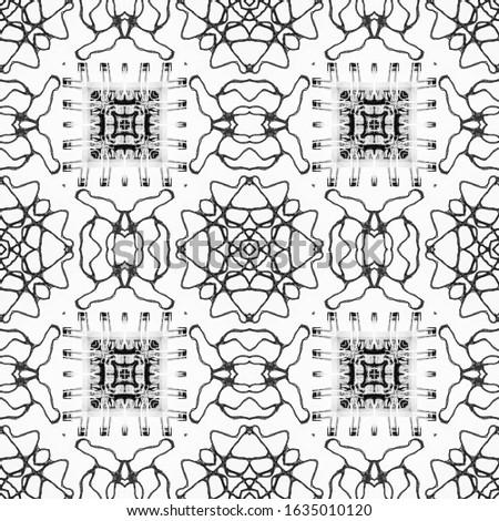 Black Wedding vintage lace seamless. Ethnic Ornament Print. Ornamental Geometry. Black Tile Dressing element Antique Element Hand Drawn. Kaleidoscope Effect. Floral Elements Floral Design.