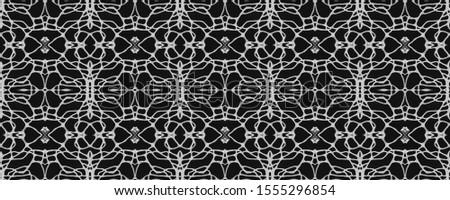 Black Wedding vintage lace seamless. Ornamental Geometry. Ornate Tile Background Black Silver Dressing element Asian Ornament. Hand Drawn. Kaleidoscope Art. Floral Elements Floral Elements