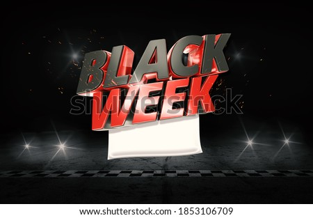 Black Week 3D Friday Isolated  Stockfoto ©