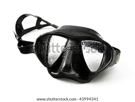 Black wet diving mask isolated on a white background