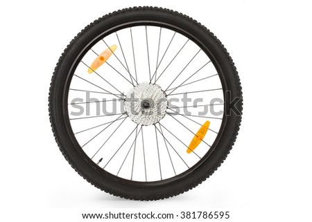 black wheel of a mountain bike isolated on white background isolated  #381786595