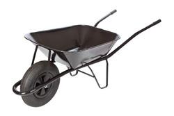 black wheelbarrow  on white background