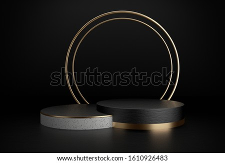 Black white and gold cylinder product display with luxury concept, Abstract geometric background, Circle frame, Pedestal, Podium, Stand, 3D Rendering.