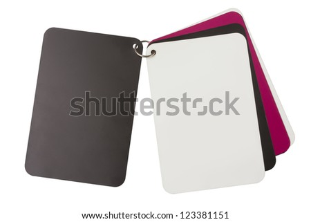 black ,white and pink paper isolated on white.