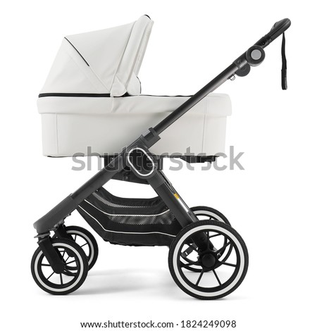 Black & White Baby Pram Stroller Isolated on White. Pushchair and Carrycot with Canopy and Swivel Wheels. Baby Transport Side View. Infant Carriage Seat. Travel System with Elevators and Raincover Stock photo ©