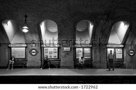 Black & White: Baker Street Station in the London Underground