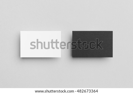 Black & White Business Card Mock-Up (85x55mm) #482673364