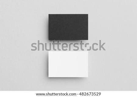 Black & White Business Card Mock-Up (85x55mm) #482673529