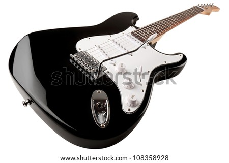 black white electric guitar in front of white background