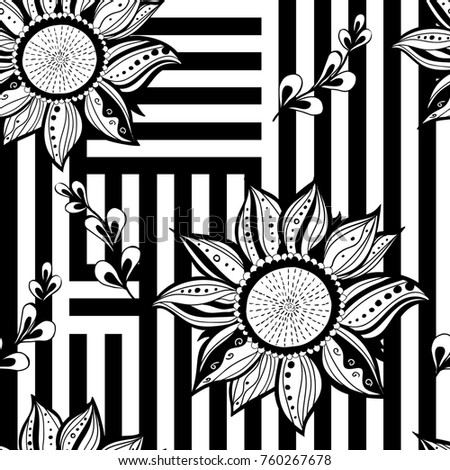 Black white florews seamless background. Modern style.  illustration.