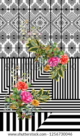 black white flowers design  #1256730046