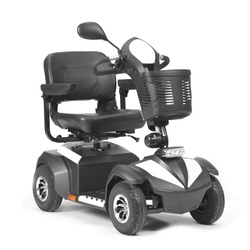 Black & White Four Wheel Mobility Scooter with Front Basket Isolated on White Background. Modern Mobility Aid Vehicle. Personal Transport Side View. Electric Wheelchair with Step Through Frame