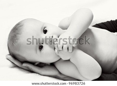 stock photo : Black-white image of little baby boy