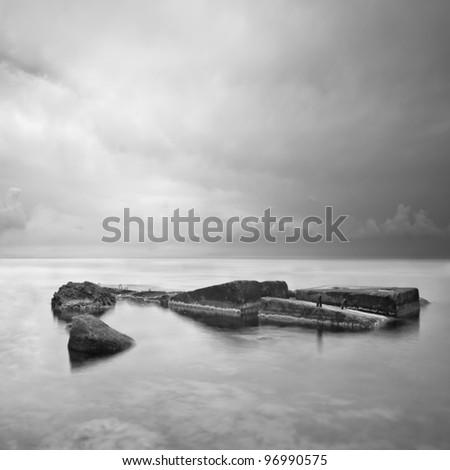 Black & White minimalist seascape with rocks. Black sea. Ukraine. Crimea.