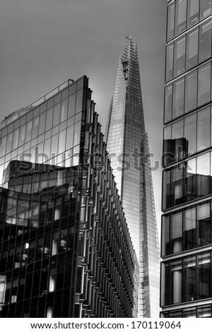 Black & white Modern buildings of London