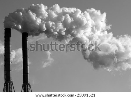 Black&White Paper Mill Smokestacks