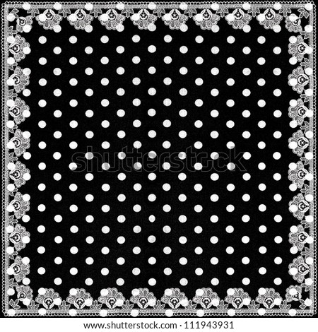 black white polka dots background with lace border