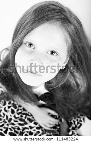 Black-white portrait of beautiful girl with long hair - stock photo