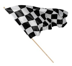 Black white race chequered or checkered flag with wooden stick isolated background. motorsport car racing symbol concept