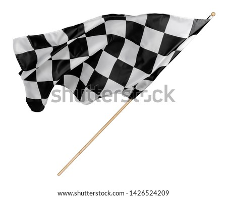 Black white race chequered or checkered flag with wooden stick isolated background. motorsport car racing symbol concept #1426524209