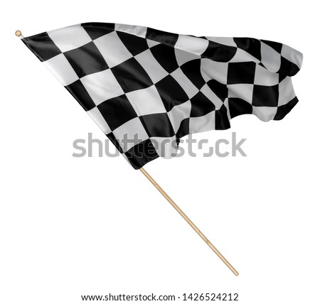 Black white race chequered or checkered flag with wooden stick isolated background. motorsport car racing symbol concept #1426524212