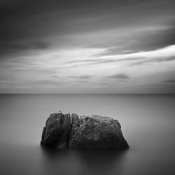 Black & White rocky seascape scene with seagull on stone, Crimea, Ukraine