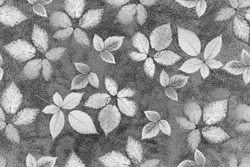 Black-white seamless pattern Grey leather and leaves abstract background. Grey background whith leaves