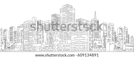 Black White Sketch of Cityscape