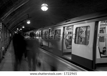 Black & White: Stationary Train, London Underground - stock photo