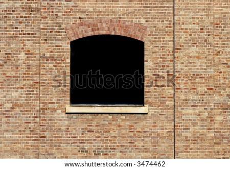 Black Window In Old Brick Stone Wall, Background