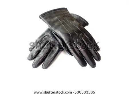 Black Winter Leather Gloves for Men isolated on white background.