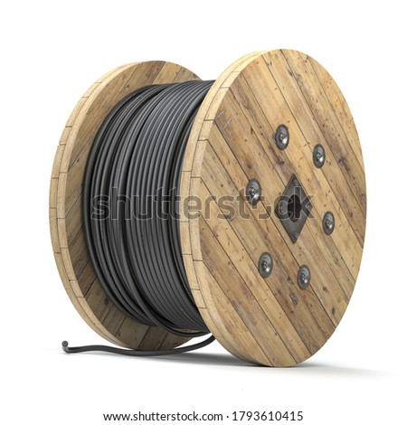 Black wire electric cable on wooden coil or spool isolated on white background. 3d illustration Foto stock ©