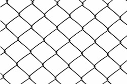 black wire fence isolated on white